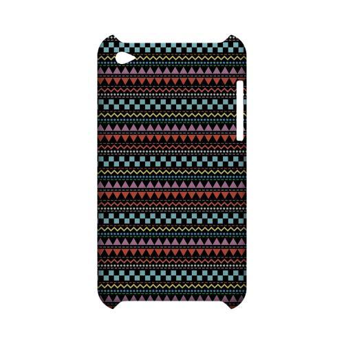 Multi-Shapes & Colors on Black Geeks Designer Line Zig Zag Series Slim Hard Case for Apple iPod Touch 4