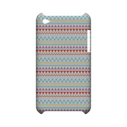 Multi-Shapes & Colors on White Geeks Designer Line Zig Zag Series Slim Hard Case for Apple iPod Touch 4