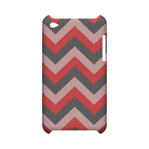 Red on Gray on Pink Geeks Designer Line Zig Zag Series Slim Hard Case for Apple iPod Touch 4