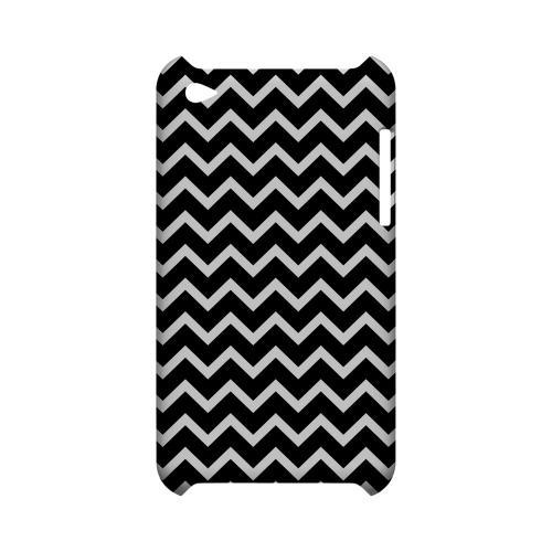 White on Black Geeks Designer Line Zig Zag Series Slim Hard Case for Apple iPod Touch 4