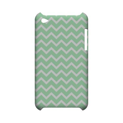 White on Mint Geeks Designer Line Zig Zag Series Slim Hard Case for Apple iPod Touch 4