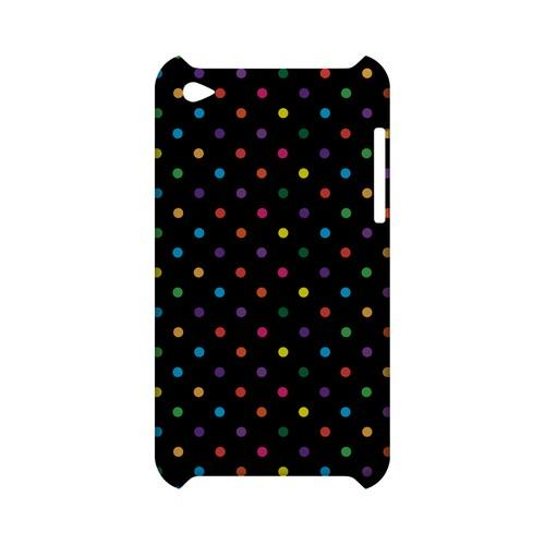 Small & Rainbow on Black Geeks Designer Line Polka Dot Series Slim Hard Case for Apple iPod Touch 4