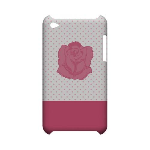 Pink Rose on White Geeks Designer Line Polka Dot Series Slim Hard Case for Apple iPod Touch 4