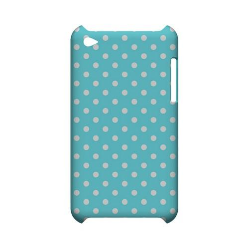 White Dots on Turquoise Geeks Designer Line Polka Dot Series Slim Hard Case for Apple iPod Touch 4