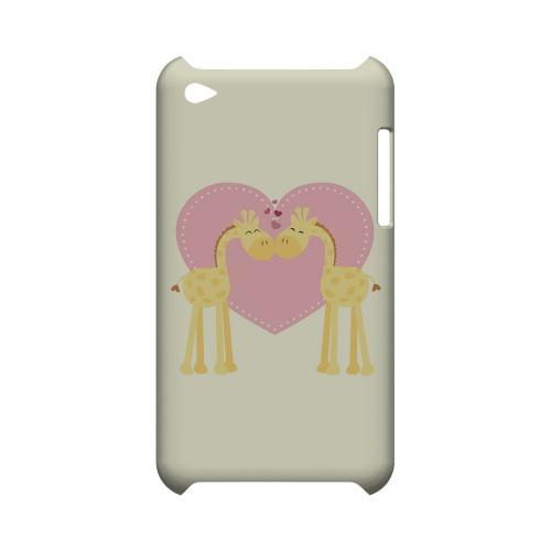 Giraffe Love on Light Yellow Geeks Designer Line Heart Series Slim Hard Case for Apple iPod Touch 4