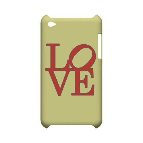 Red Love on Yellow Geeks Designer Line Heart Series Slim Hard Case for Apple iPod Touch 4