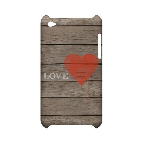 Rustic Love Geeks Designer Line Heart Series Slim Hard Case for Apple iPod Touch 4
