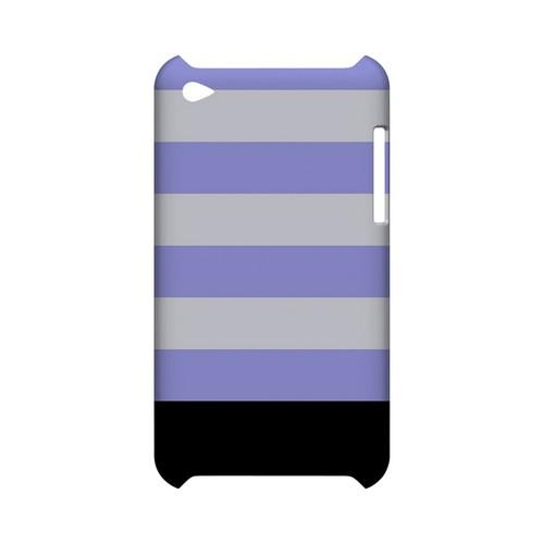 Purple Candy Stripes w/ Black Bar - Geeks Designer Line Stripe Series Hard Case for Apple iPod Touch 4