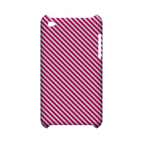 Thin Hot Pink Diagonal - Geeks Designer Line Stripe Series Hard Case for Apple iPod Touch 4