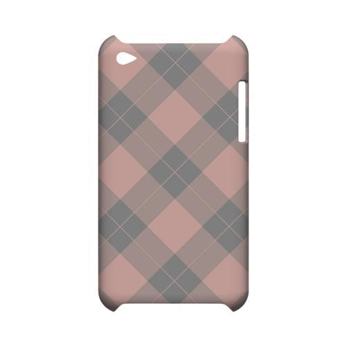 Pink/ Gray Simple Plaid - Geeks Designer Line Checker Series Hard Case for Apple iPod Touch 4