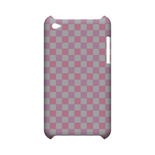 Pinkish - Geeks Designer Line Checker Series Hard Case for Apple iPod Touch 4