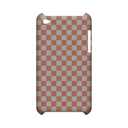 Pink/ Peach - Geeks Designer Line Checker Series Hard Case for Apple iPod Touch 4