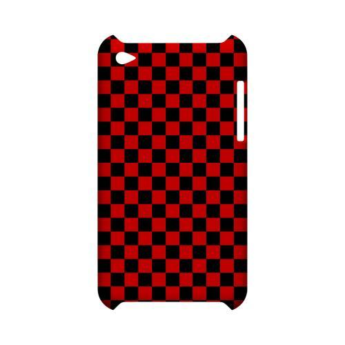 Red/ Black - Geeks Designer Line Checker Series Hard Case for Apple iPod Touch 4
