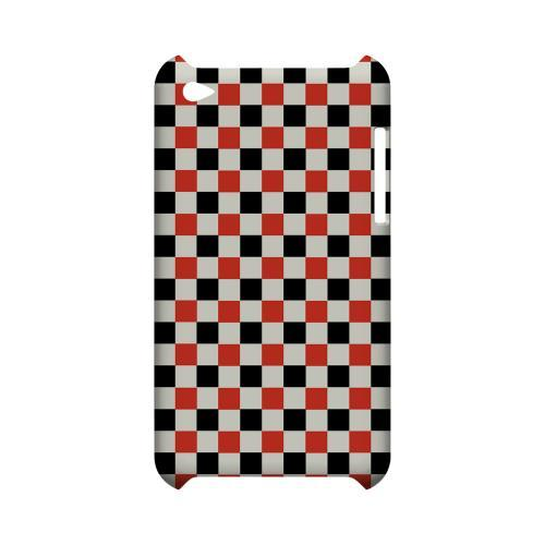 Red/ Black on Cream - Geeks Designer Line Checker Series Hard Case for Apple iPod Touch 4