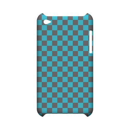 Teal/ Gray - Geeks Designer Line Checker Series Hard Case for Apple iPod Touch 4
