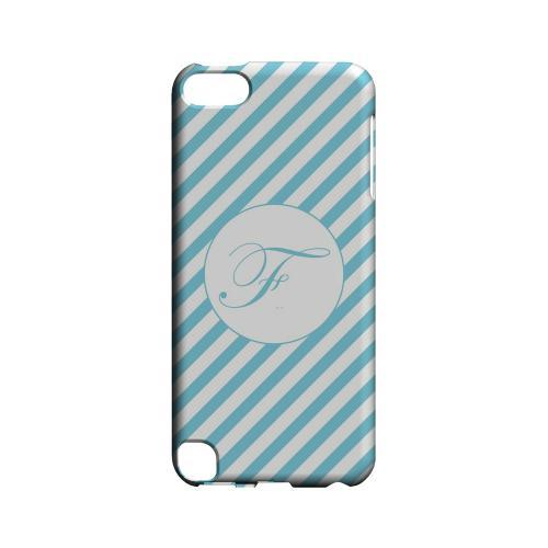 Calligraphy F on Mint Slanted Stripes - Geeks Designer Line Monogram Series Hard Case for Apple iPod Touch 5