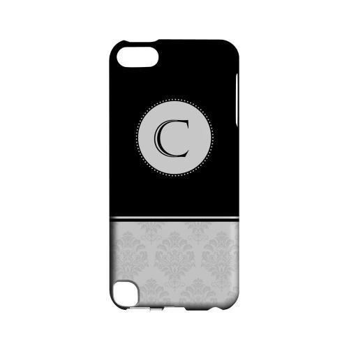 Black C w/ White Damask Design - Geeks Designer Line Monogram Series Hard Case for Apple iPod Touch 5