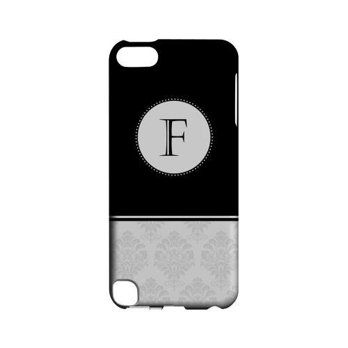 Black F w/ White Damask Design - Geeks Designer Line Monogram Series Hard Case for Apple iPod Touch 5