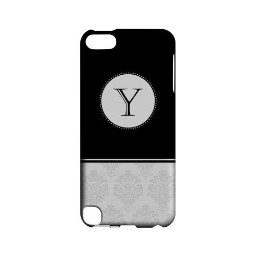 Black Y w/ White Damask Design - Geeks Designer Line Monogram Series Hard Case for Apple iPod Touch 5