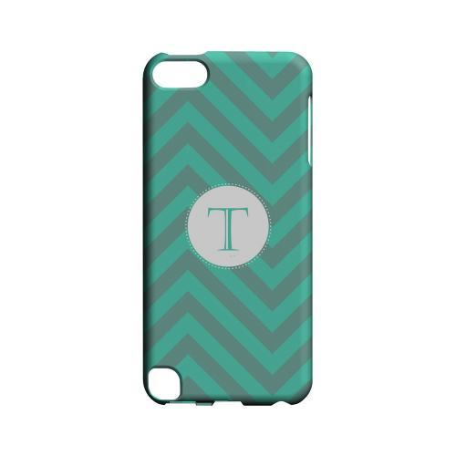 Seafoam Green T on Zig Zags - Geeks Designer Line Monogram Series Hard Case for Apple iPod Touch 5