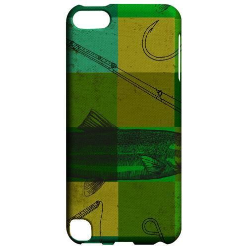 Geeks Designer Line (GDL) Slim Hard Case for Apple iPod Touch 5 - Green Plaid Trout Design