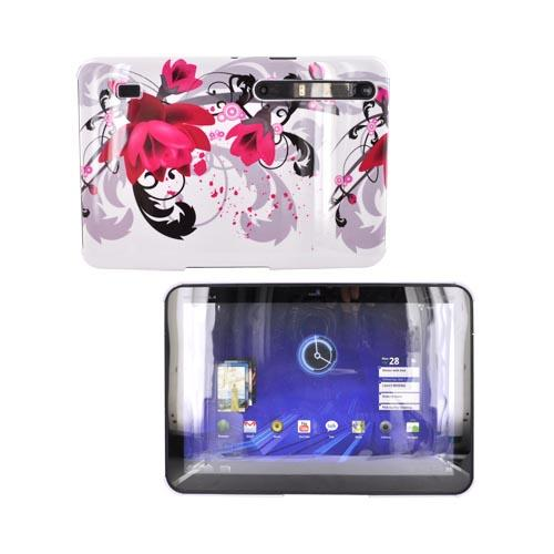 Motorola Xoom Hard Back Cover Case - Pink Flower on White