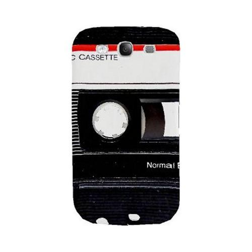 Geeks Designer Line (GDL) Retro Series Samsung Galaxy S3 Matte Hard Back Cover - Black Cassette Close Up