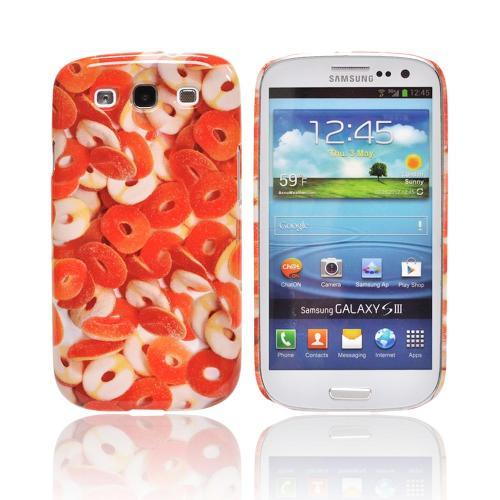 Geeks Designer Line (GDL) Samsung Galaxy S3 Matte Hard Back Cover - Orange/ White Gummy Rings