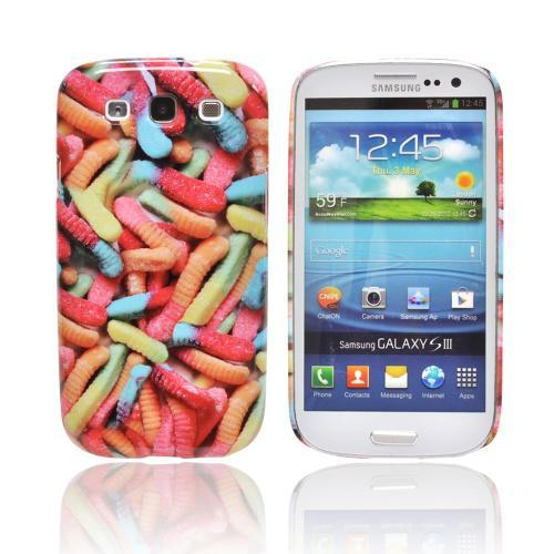 Geeks Designer Line (GDL) Samsung Galaxy S3 Matte Hard Back Cover - Multi-Colored Gummy Worms