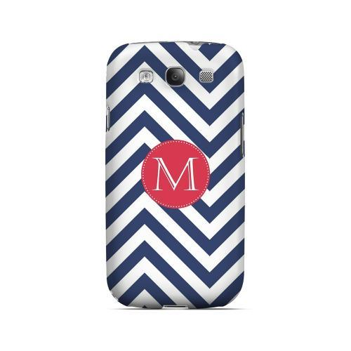 Cherry Button M on Navy Blue Zig Zags - Geeks Designer Line Monogram Series Matte Case for Samsung Galaxy S3