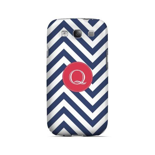 Cherry Button Q on Navy Blue Zig Zags - Geeks Designer Line Monogram Series Matte Case for Samsung Galaxy S3