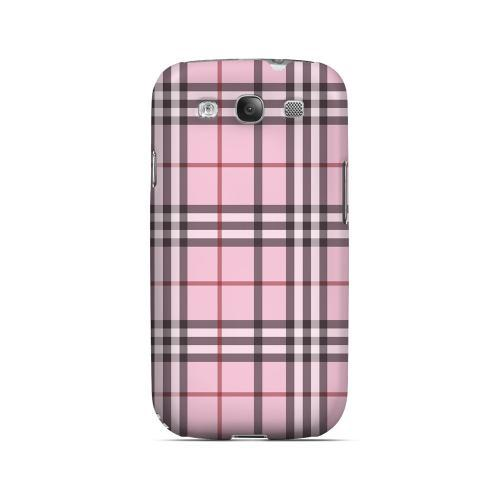 Classic Pink/ White/ Red Plaid - Geeks Designer Line Checker Series Matte Case for Samsung Galaxy S3