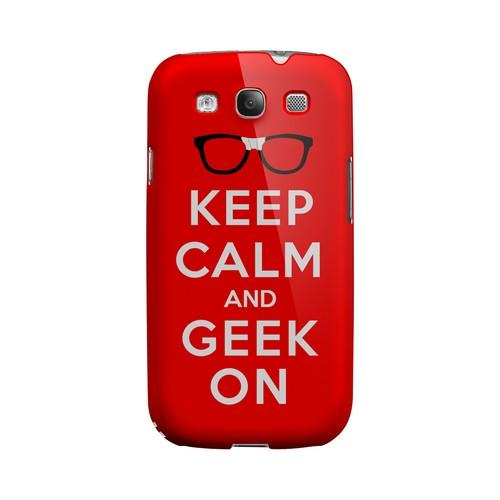 Red Geek On Geeks Designer Line Keep Calm Series Matte Hard Case for Samsung Galaxy S3