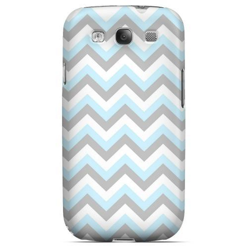 Blue on Gray on White Geeks Designer Line Zig Zag Series Matte Hard Case for Samsung Galaxy S3