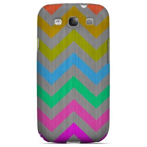 Grungy Multi-Colors on Gray Geeks Designer Line Zig Zag Series Matte Hard Case for Samsung Galaxy S3