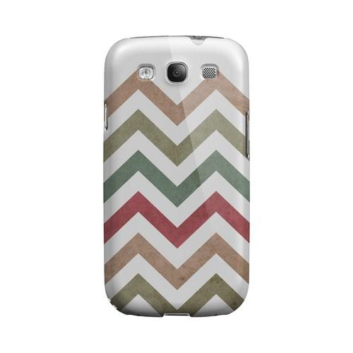 Grungy Green/ Red on White Geeks Designer Line Zig Zag Series Matte Hard Case for Samsung Galaxy S3
