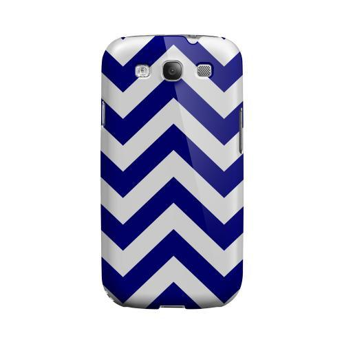 Navy Blue on White Geeks Designer Line Zig Zag Series Matte Hard Case for Samsung Galaxy S3