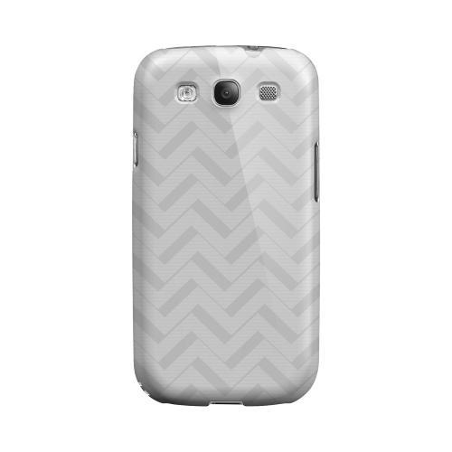 Light Gray/ White 3D Geeks Designer Line Zig Zag Series Matte Hard Case for Samsung Galaxy S3