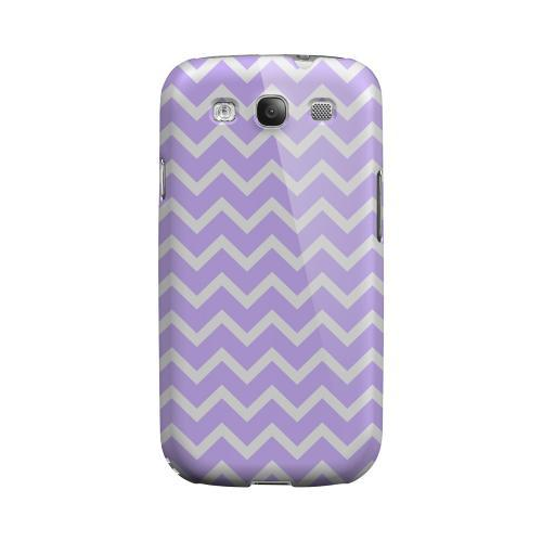 White on Light Purple Geeks Designer Line Zig Zag Series Matte Hard Case for Samsung Galaxy S3
