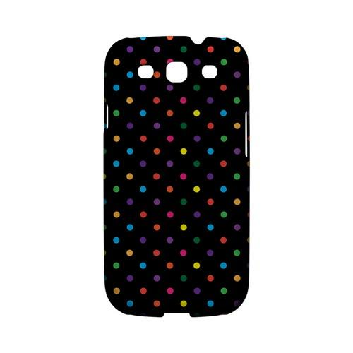 Small & Rainbow on Black Geeks Designer Line Polka Dot Series Matte Hard Case for Samsung Galaxy S3