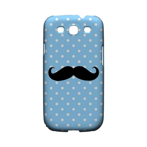 Stache on Sky Blue Geeks Designer Line Polka Dot Series Matte Hard Case for Samsung Galaxy S3