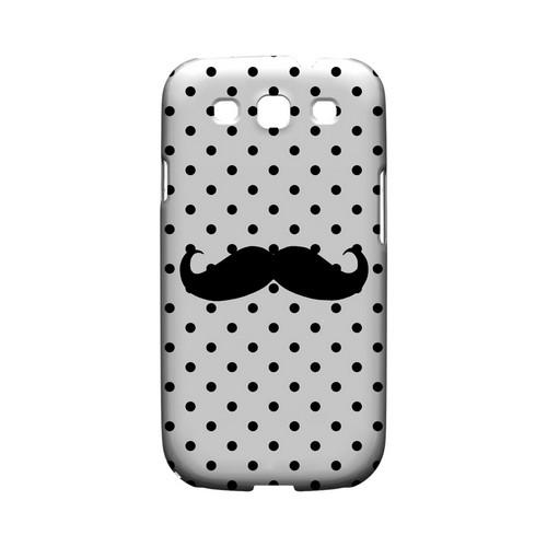 Stache on White Geeks Designer Line Polka Dot Series Matte Hard Case for Samsung Galaxy S3