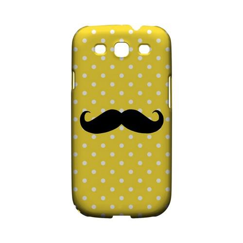 Stache on Yellow Geeks Designer Line Polka Dot Series Matte Hard Case for Samsung Galaxy S3