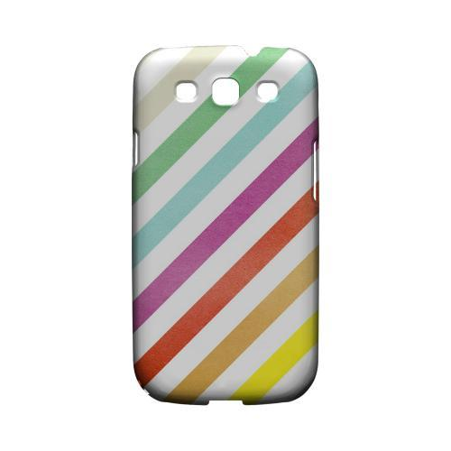 Dirty Diagonal Multi-Color - Geeks Designer Line Stripe Series Matte Case for Samsung Galaxy S3