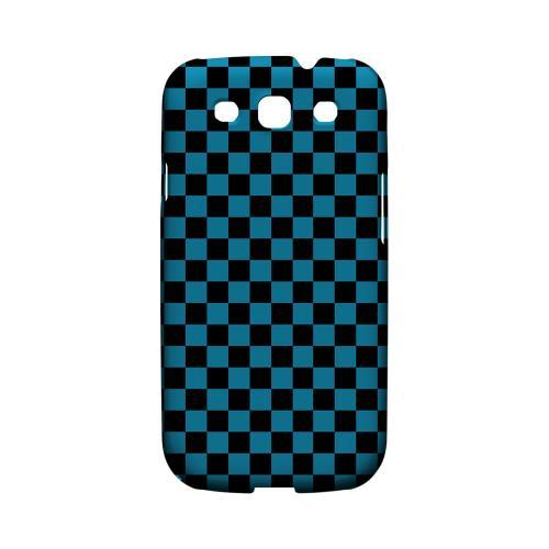 Aqua Blue/ Black - Geeks Designer Line Checker Series Matte Case for Samsung Galaxy S3