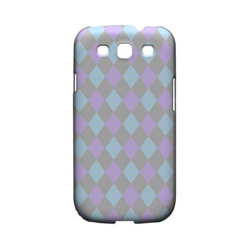 Gray/ Blue/ Purple Argyle - Geeks Designer Line Checker Series Matte Case for Samsung Galaxy S3