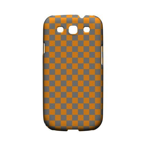 Orange/ Gray - Geeks Designer Line Checker Series Matte Case for Samsung Galaxy S3