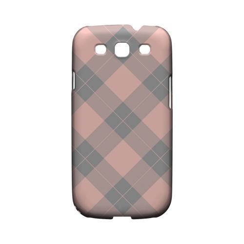 Pink/ Gray Simple Plaid - Geeks Designer Line Checker Series Matte Case for Samsung Galaxy S3