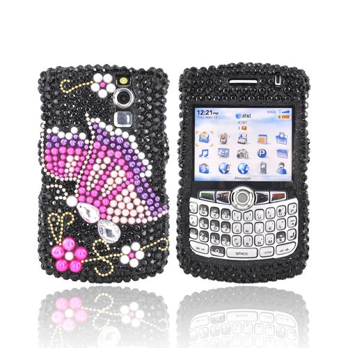 Blackberry Curve 8300 8310 8320 8330 Bling Hard Case - Pink/Purple Butterfly on Black Gems