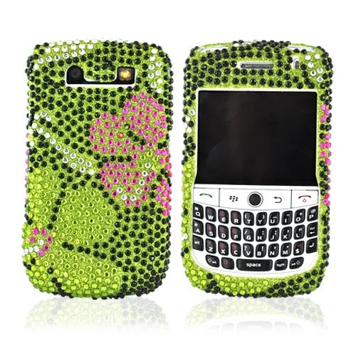 Blackberry Curve 8900 Hard Bling Case - Green/Pink Daisy on Green